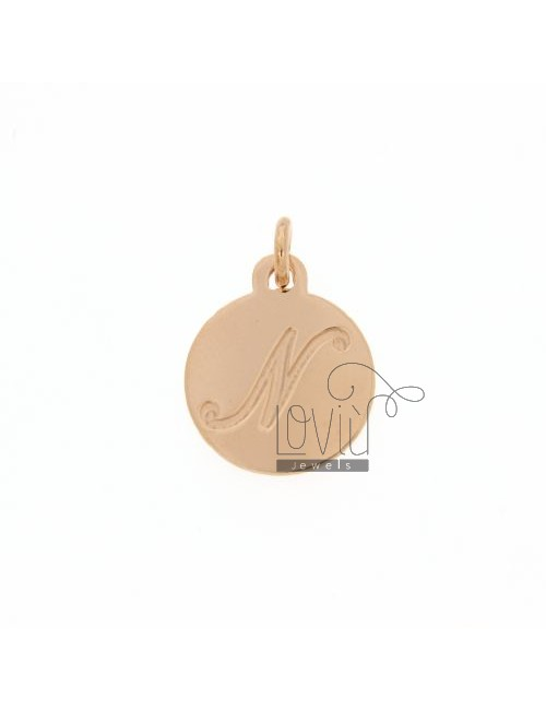 1.5 MM ROUND PENDANT LETTER N WITH ENGRAVED IN TIT AG 925 ROSE GOLD PLATED