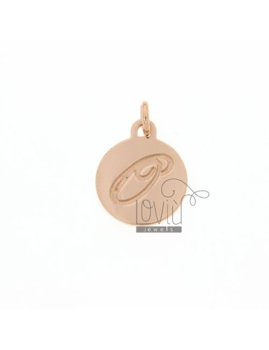 1.5 MM ROUND PENDANT LETTER O WITH ENGRAVED IN TIT AG 925 ROSE GOLD PLATED