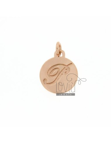 1.5 MM ROUND PENDANT LETTER P WITH ENGRAVED IN TIT AG 925 ROSE GOLD PLATED