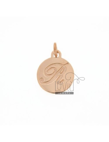 1.5 MM ROUND PENDANT LETTER R WITH ENGRAVED IN TIT AG 925 ROSE GOLD PLATED