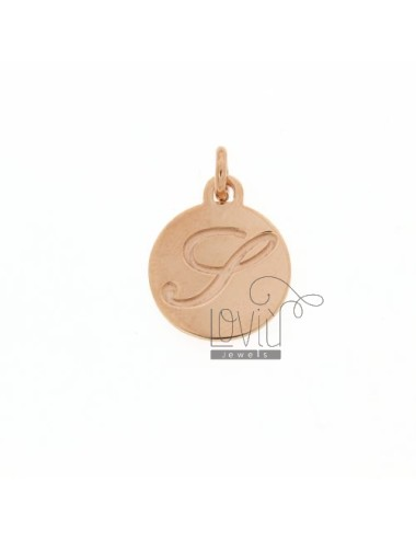 1.5 MM ROUND PENDANT LETTER S WITH ENGRAVED IN TIT AG 925 ROSE GOLD PLATED