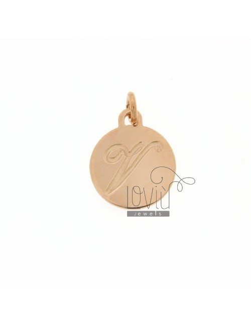 1.5 MM ROUND PENDANT LETTER V WITH ENGRAVED IN TIT AG 925 ROSE GOLD PLATED