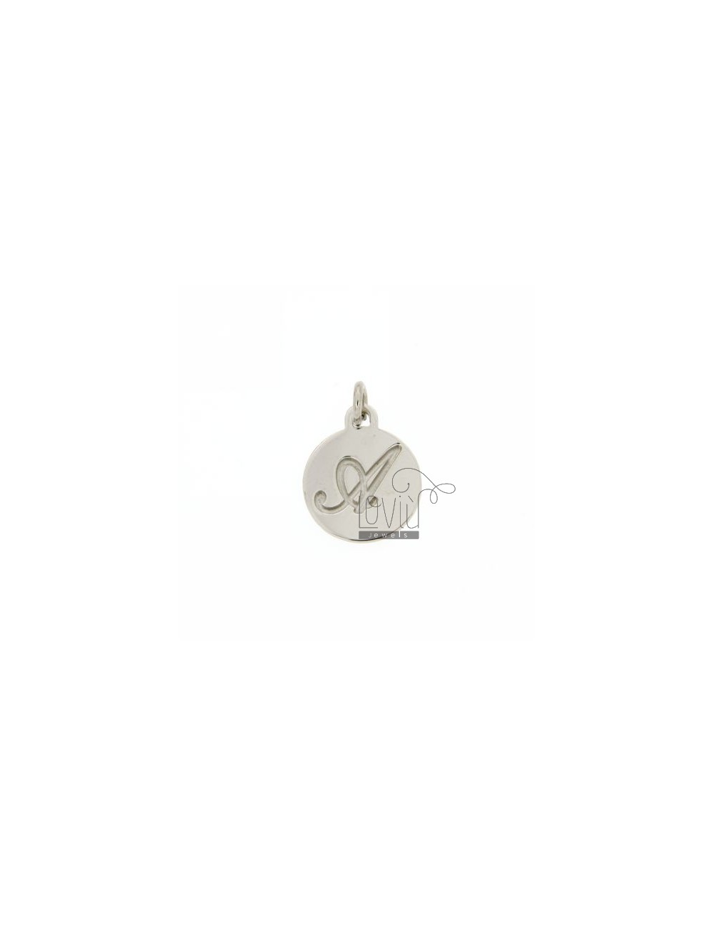 CHARM ROUND 15 MM WITH LETTER TO ENGRAVED IN AG TIT 925 ‰ RHODIUM