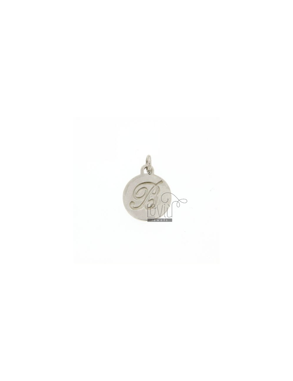 CHARM ROUND 15 MM WITH LETTER B ENGRAVED IN AG TIT 925 ‰ RHODIUM