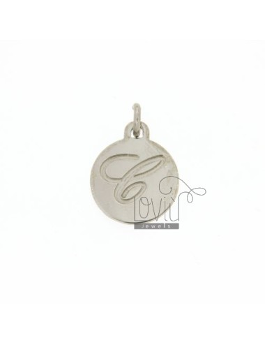 CHARM ROUND 15 MM WITH LETTER C ENGRAVED IN AG TIT 925 ‰ RHODIUM