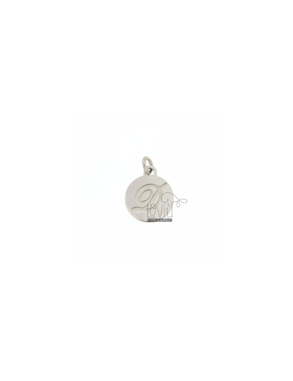 CHARM ROUND 15 MM WITH LETTER D ENGRAVED IN AG TIT 925 ‰ RHODIUM