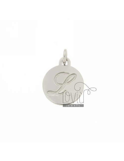 CHARM ROUND 15 MM WITH LETTER L ENGRAVED IN AG TIT 925 ‰ RHODIUM