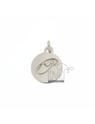 CHARM ROUND 15 MM WITH LETTER OR ENGRAVED IN AG TIT 925 ‰ RHODIUM