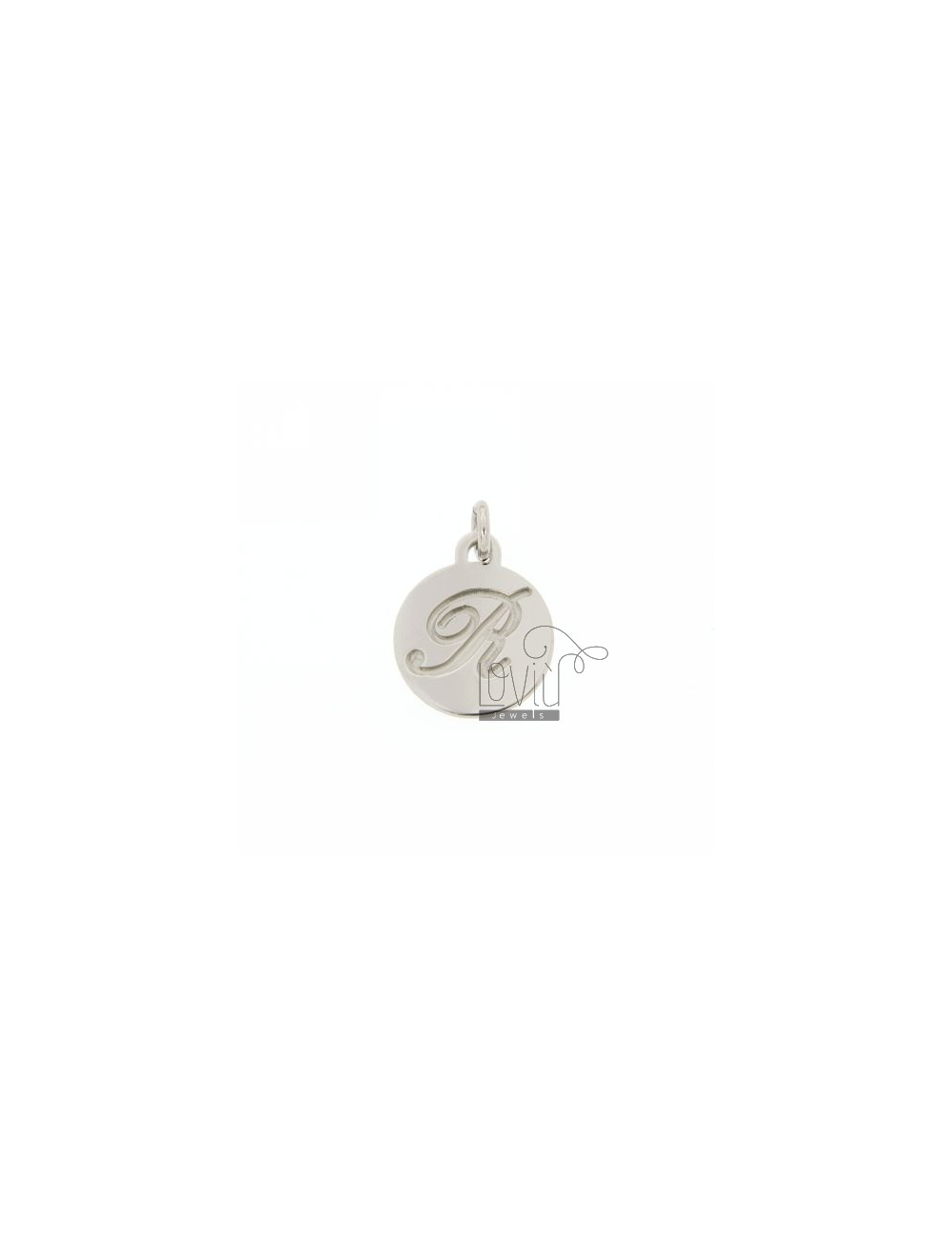 CHARM ROUND 15 MM WITH LETTER R ENGRAVED IN AG TIT 925 ‰ RHODIUM