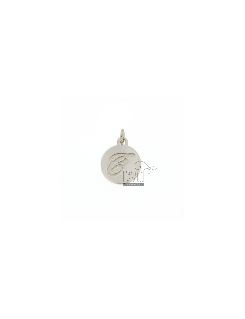 CHARM ROUND 15 MM WITH LETTER T ENGRAVED IN AG TIT 925 ‰ RHODIUM