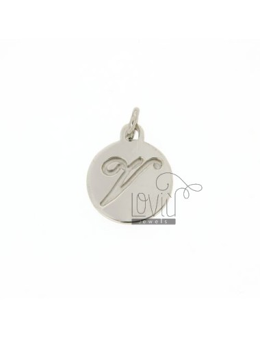 CHARM ROUND 15 MM WITH LETTER V ENGRAVED IN AG TIT 925 ‰ RHODIUM