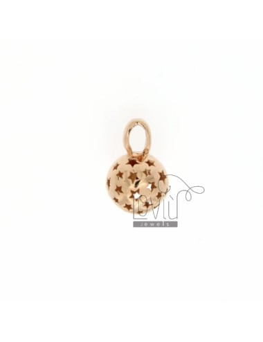 CALL ANGELS PENDANT 11 MM WITH STARS IN perforated AG PLATED ROSE GOLD TIT 925