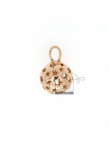 CALL ANGELS PENDANT 14 MM WITH STARS IN perforated AG PLATED ROSE GOLD TIT 925