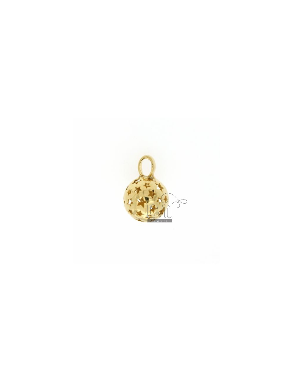 CALL ANGELS PENDANT 14 MM WITH STARS IN perforated AG GOLD PLATED TIT 925