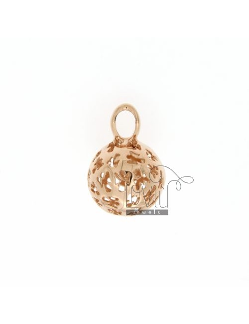 CALL ANGELS PENDANT 14 MM WITH ANGELS IN PERFORATED AG PLATED ROSE GOLD TIT 925