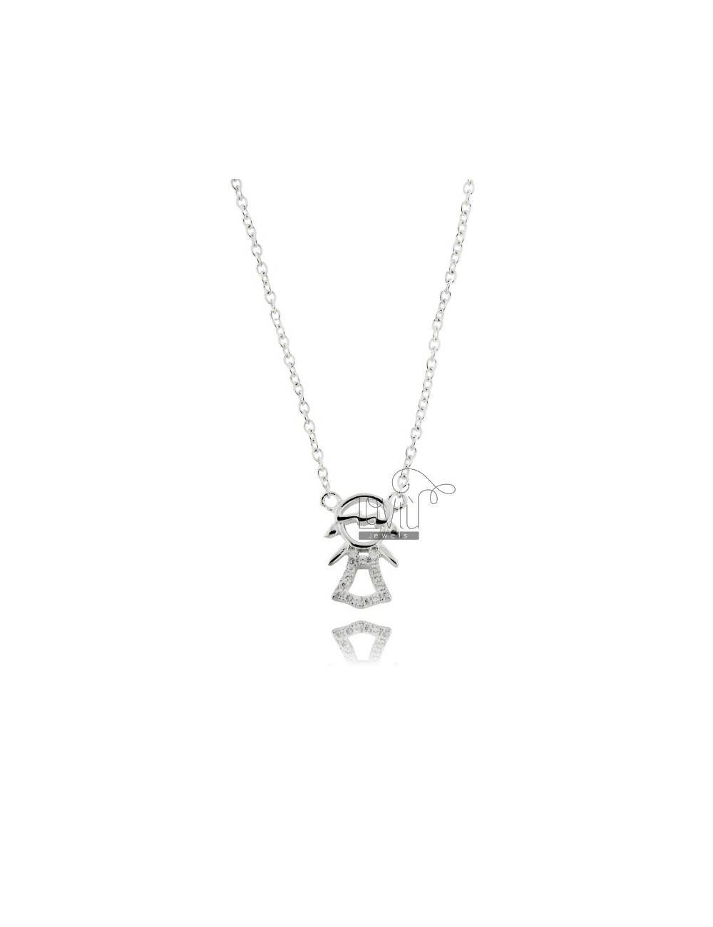 COLLIER GIRL HEART IN AG TIT 925 ‰ WITH ZIRCONIA