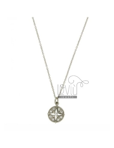 COLLIER ROSE OF THE WINDS IN TIT AG 925 AND ZIRCONIA