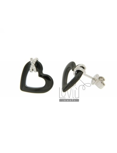 EARRINGS HEART OF HEMATITE IN A LOBO AG RHODIUM 925 ‰ TIT AND ZIRCONIA