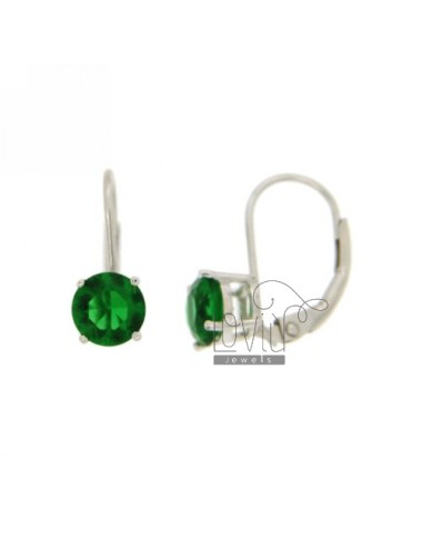 EARRINGS 6 MM LIGHT POINT IN A nun AG RHODIUM TIT 925 ‰ GREEN AND ZIRCONIA