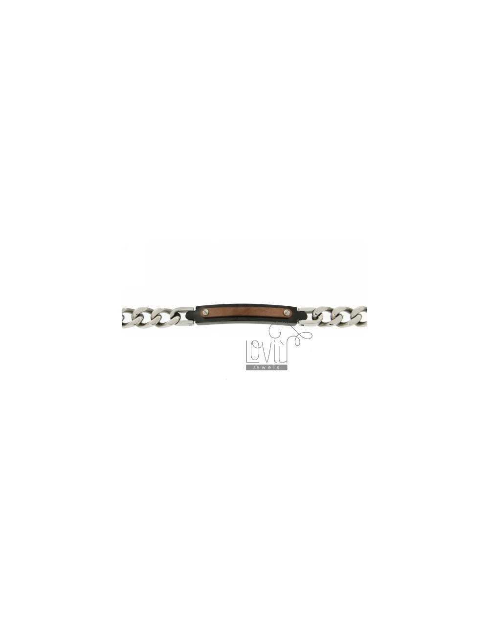 GRUMETTA BRACELET WITH STEEL PLATE 6 MM AND ROSE GOLD PLATED RUTENIO