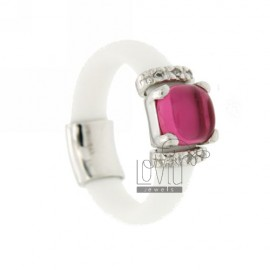 RUBBER RING IN &39WHITE WITH APPLICATIONS IN RHODIUM AG TIT 925 ‰, ZIRCONS HYDROTHERMAL VARIOUS COLORS AND STONES