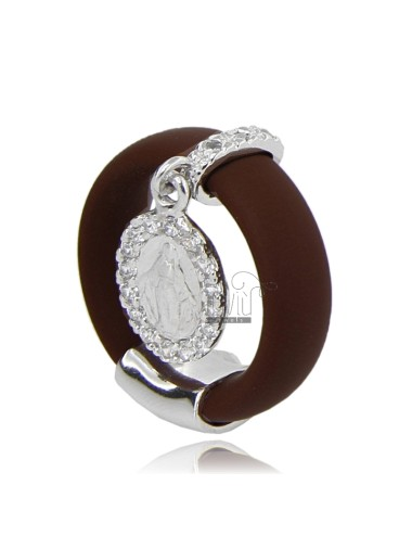 RUBBER RING &39IN BROWN WITH MIRACULOUS AG RHODIUM 925 ‰ TIT AND ZIRCONIA