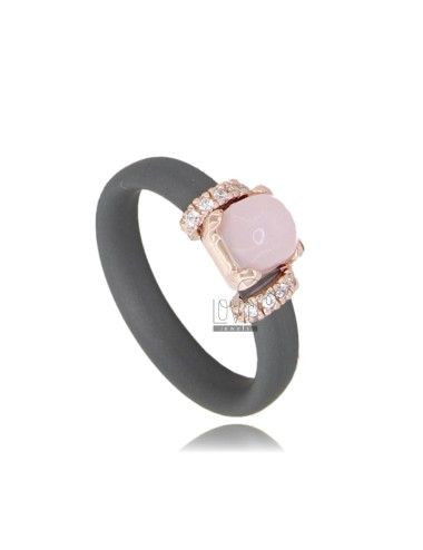 GRAY RUBBER RING WITH APPLICATION IN ROSE GOLD PLATED AG TIT 925 ‰ ZIRCONIA AND HYDROTHERMAL STONES ASSORTED COLORS