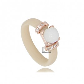 RING IN RUBBER 'IVORY WITH APPLICATION IN ROSE GOLD PLATED AG TIT 925 ‰ ZIRCONIA AND STONES HYDROTHERMAL ASSORTED COLORS