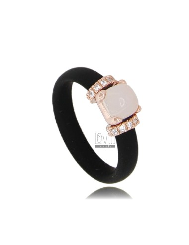 RUBBER RING 'BLACK WITH APPLICATION IN ROSE GOLD PLATED AG TIT 925 ‰ ZIRCONIA AND STONES HYDROTHERMAL ASSORTED COLORS