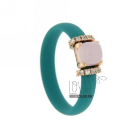 RING IN RUBBER TURQUOISE WITH APPLICATION IN ROSE GOLD PLATED AG TIT 925 ‰ ZIRCONS AND STONES HYDROTHERMAL ASSORTED COLORS