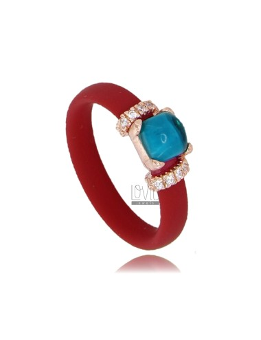 RUBBER RING IN RED WITH APPLICATION IN ROSE GOLD PLATED AG TIT 925 ‰ ZIRCONIA AND STONES HYDROTHERMAL ASSORTED COLORS
