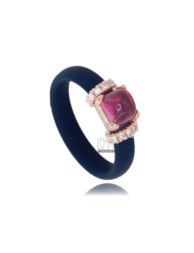 RUBBER RING 'BLUE WITH APPLICATION IN ROSE GOLD PLATED AG TIT 925 ‰ ZIRCONIA AND STONES HYDROTHERMAL ASSORTED COLORS