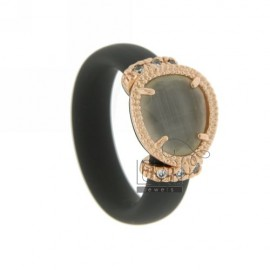 RUBBER RING &39GREY WITH APPLICATIONS IN ROSE GOLD PLATED AG TIT 925, ZIRCONS HYDROTHERMAL VARIOUS COLORS AND STONES