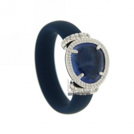 RUBBER RING &39BLUE WITH APPLICATIONS IN RHODIUM AG TIT 925 ‰, ZIRCONS HYDROTHERMAL VARIOUS COLORS AND STONES