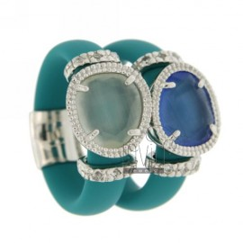 DOUBLE RING IN RUBBER &39TURQUOISE WITH APPLICATION IN RHODIUM AG 925 TIT FOR VARIOUS COLORS AND STONES HYDROTHERMAL