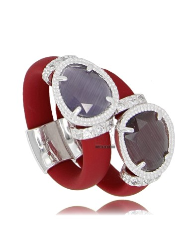 DOUBLE RUBBER RING IN &39RED WITH APPLICATION IN RHODIUM AG 925 TIT FOR VARIOUS COLORS AND STONES HYDROTHERMAL