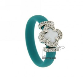 RUBBER RING &39TURQUOISE WITH APPLICATION IN RHODIUM TIT AG 925, ZIRCONS HYDROTHERMAL VARIOUS COLORS AND STONES