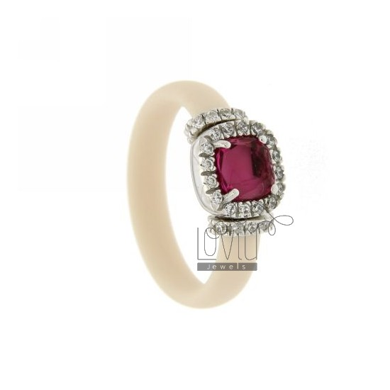 RUBBER RING &39IVORY AND APPLICATION IN RHODIUM TIT AG 925, ZIRCONS HYDROTHERMAL VARIOUS COLORS AND STONES