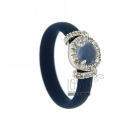 RUBBER RING &39BLUE WITH APPLICATION IN RHODIUM TIT AG 925, ZIRCONS HYDROTHERMAL VARIOUS COLORS AND STONES