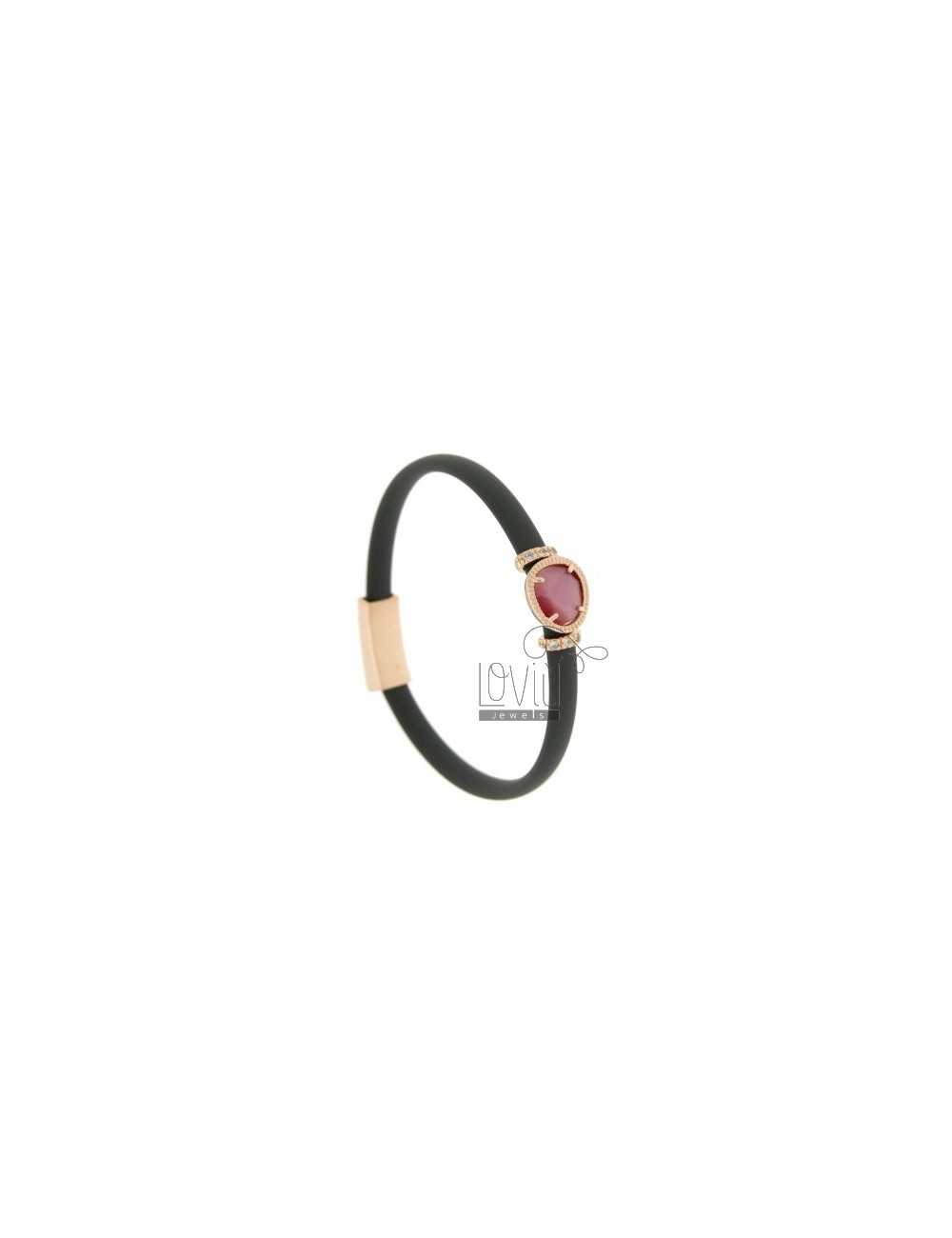 RUBBER BRACELET &39OLIVE GREY WITH APPLICATIONS IN ROSE GOLD PLATED AG TIT 925 ‰, ZIRCONS HYDROTHERMAL VARIOUS COLORS AND STON