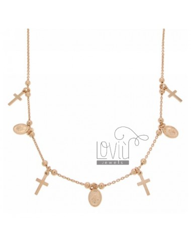 COLLIER MEDALS AND MIRACLE CROCETTE APPROXIMATELY 10 MM IN AG TIT PLATED ROSE GOLD 925 ‰ CM 45