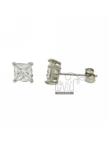 ZIRCON EARRINGS WITH WHITE SQUARE 6X6 MM IN RHODIUM AG TIT 925