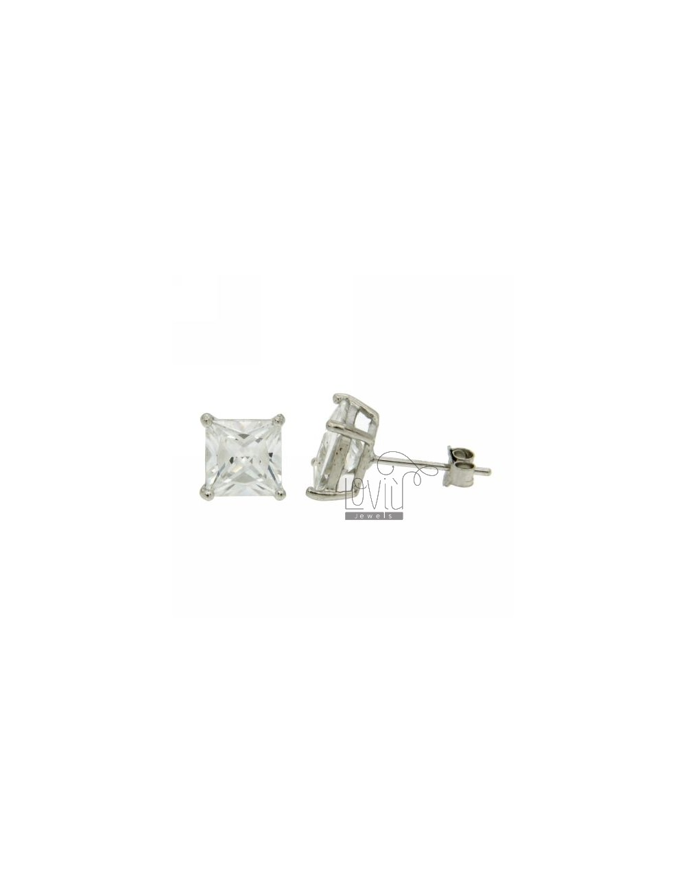 ZIRCON EARRINGS WITH WHITE SQUARE 7X7 MM IN RHODIUM AG TIT 925