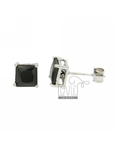 ZIRCON EARRINGS WITH BLACK SQUARE 6X6 MM IN RHODIUM AG TIT 925