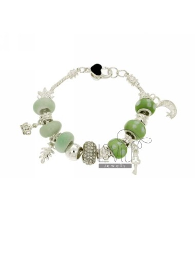 Metal bracelet with green...