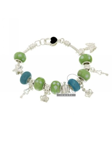 BOULE METAL BRACELET WITH GREEN AND BLUE