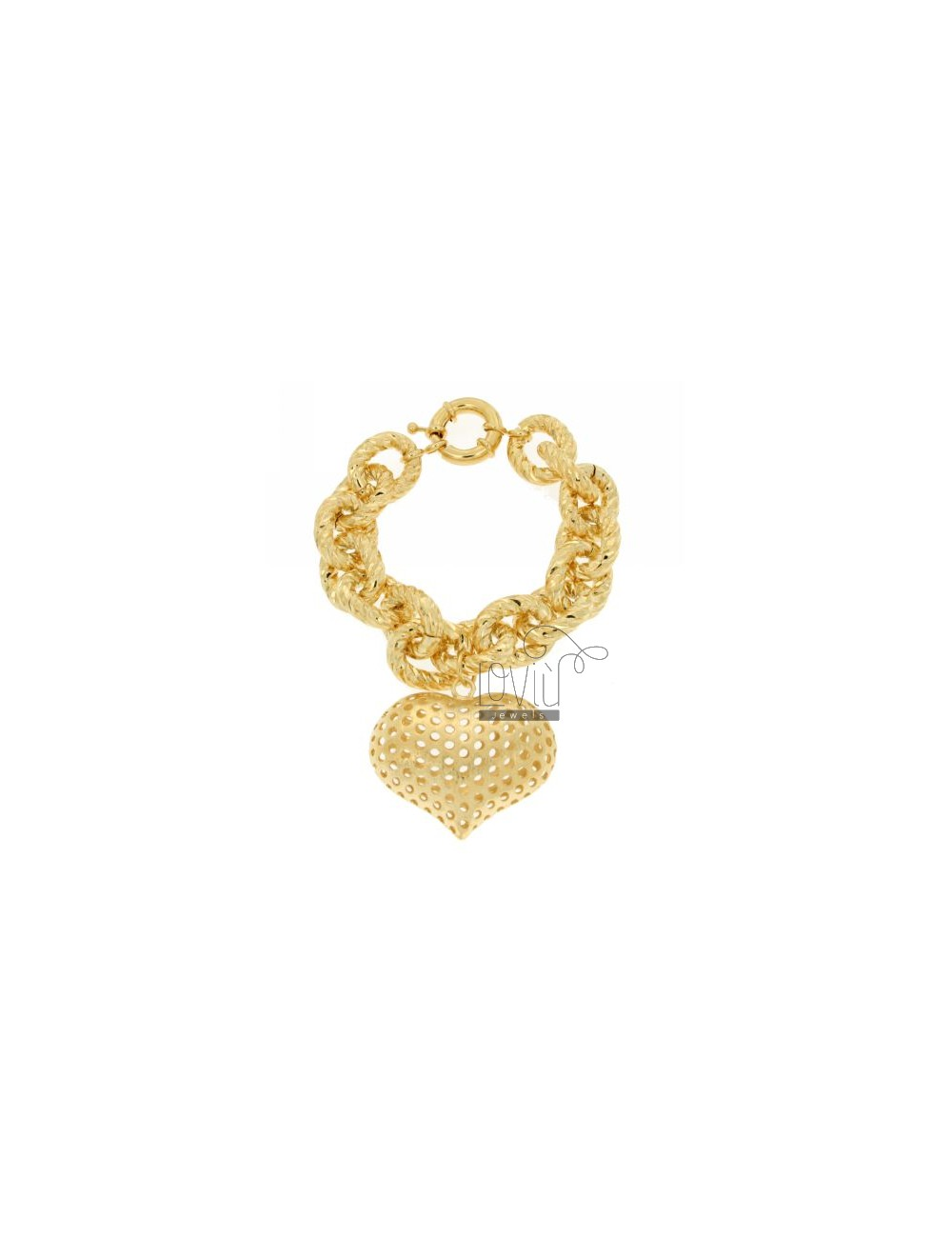 CABLE BRACELET WITH HEART PENDANT IN ALUMINIUM GOLD PLATED