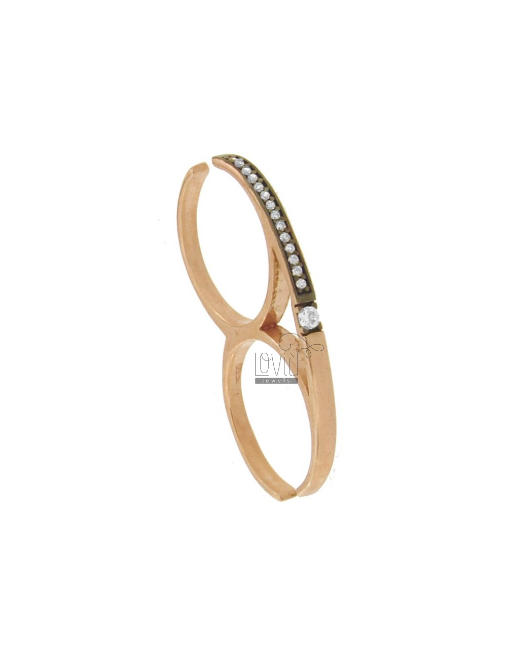 RING TWO FINGERS IN ROSE GOLD PLATED AG 925 TIT AND ZIRCONIA SIZE ADJUSTABLE