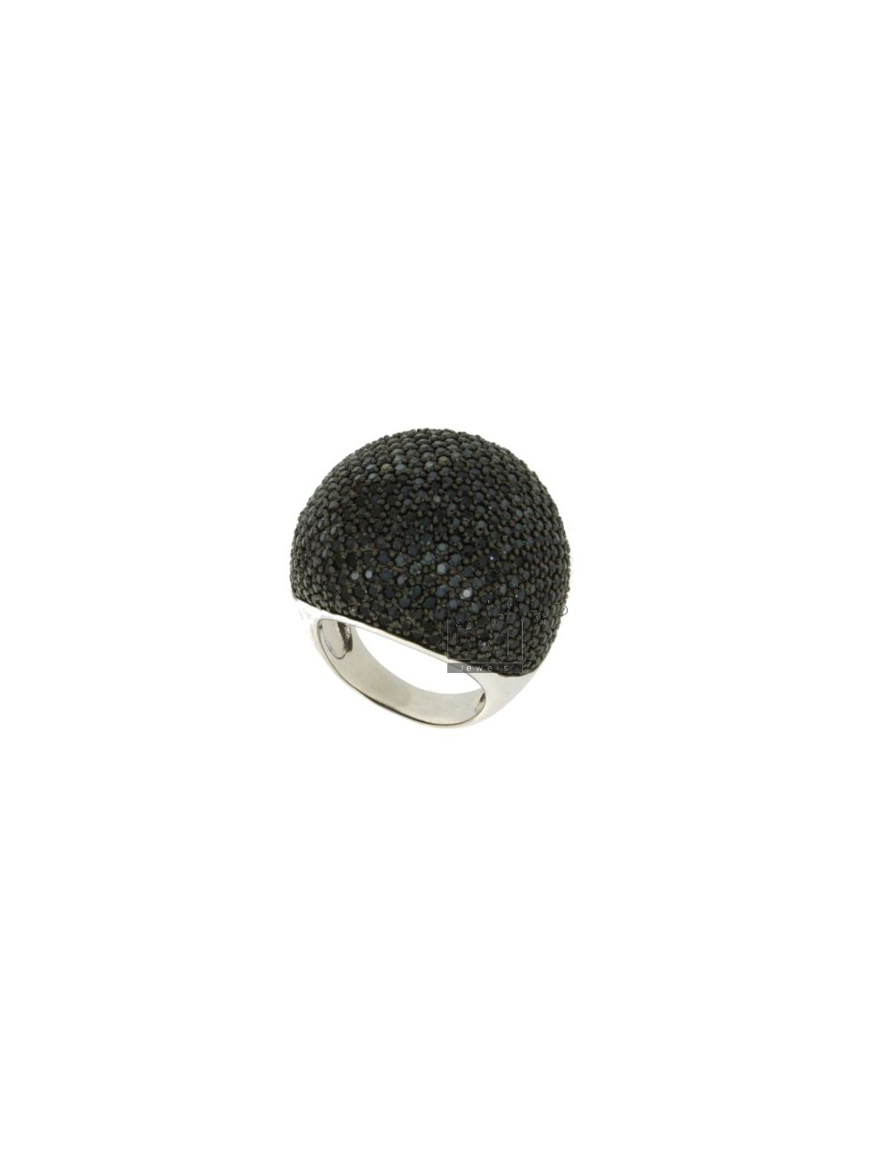 PAVE DOME RING &39IN TIT AG 925 BLACKS AND ZIRCONIA SIZE 14