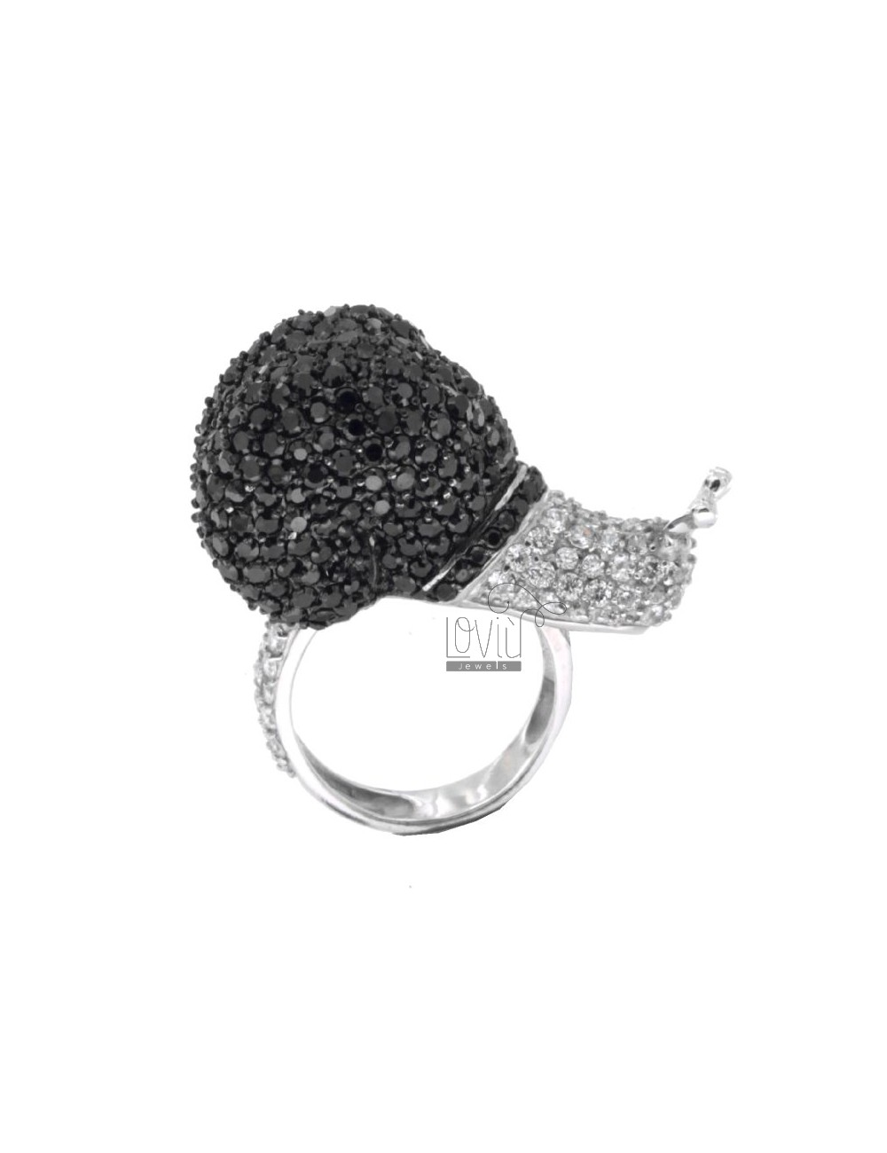 RING IN THE SNAIL 925 AG TIT AND ZIRCONIA WHITE AND ERI SIZE 15